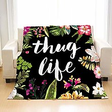 Flannel Fleece Throw Blankets Flowers Text Super