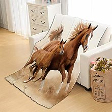 Flannel Fleece Throw Blankets Horses Super Soft