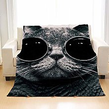 Flannel Fleece Throw Blankets Modern Glasses Cat