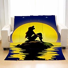 Flannel Fleece Throw Blankets Moon Mermaid Super