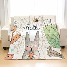 Flannel Fleece Throw Blankets Nordic Rabbit Animal