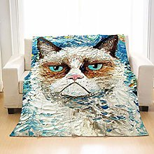 Flannel Fleece Throw Blankets Oil Painting Cat
