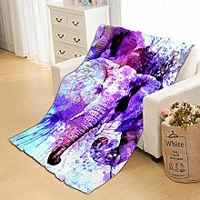 Flannel Fleece Throw Blankets Painted Elephant