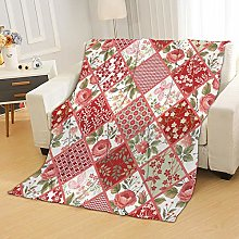 Flannel Fleece Throw Blankets Red Flowers