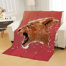 Flannel Fleece Throw Blankets Red Leopard Animal