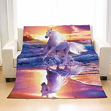 Flannel Fleece Throw Blankets River White Horse
