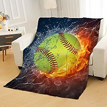 Flannel Fleece Throw Blankets Rugby Flame Super