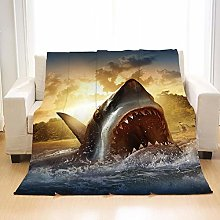 Flannel Fleece Throw Blankets Sea Shark Super Soft