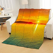 Flannel Fleece Throw Blankets Sea Sunset Super