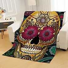 Flannel Fleece Throw Blankets Skull Flowers Super