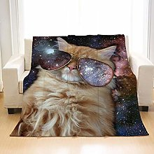 Flannel Fleece Throw Blankets Space Glasses Cat