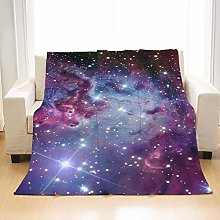 Flannel Fleece Throw Blankets Starry Sky Wolf