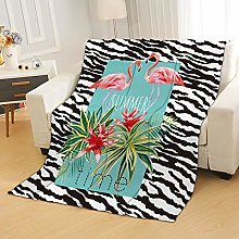Flannel Fleece Throw Blankets Stripes Flamingo