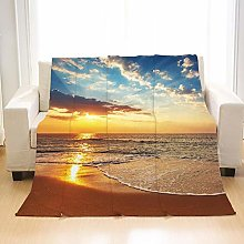 Flannel Fleece Throw Blankets Sunrise Beach Super