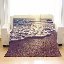 Flannel Fleece Throw Blankets Waves Beach Super