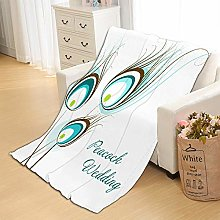 Flannel Fleece Throw Blankets White Peacock Super