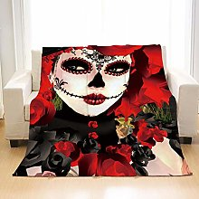 Flannel Fleece Throw Blankets Witch Skull Super