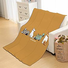 Flannel Fleece Throw Blankets Yellow Cat Super