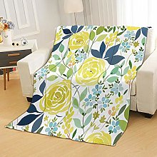 Flannel Fleece Throw Blankets Yellow Flowers