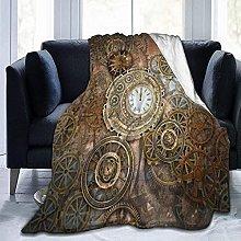 Flannel Plush Throw Blanket Rusty Steampunk Clock