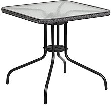 Flash Furniture 28SQ Glass Table-Gry, Clear/Gray