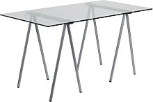 Flash Furniture Computer Desk, Metal, Clear Glass