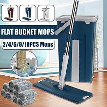 Flat Bucket Mops Hand Washing Fiber Cleaning