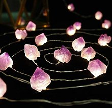 FLCSIed Natural Amethyst Raw Stones LED Copper