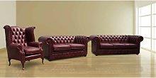 Fleta Chesterfield 3 Piece Leather Sofa Set Marlow