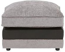 Fleur Fabric And Faux Snakeskin Footstool