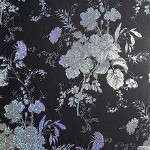 Fleurette Charcoal Wallpaper Arthouse Black Silver