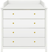 Flexa LUNA Chest with 4 drawers and Changing Table Top, White