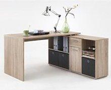 Flexi Wooden Corner Computer Desk In Canadian Oak