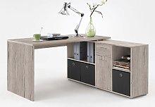 Flexi Wooden Corner Computer Desk In Sand Oak