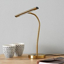 Flexible Curtis LED table lamp, antique brass