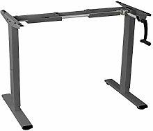 FLEXISPOT Grey Crank Height Adjustable Desk, Gray