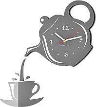 FLEXISTYLE Modern kitchen wall clock JUG & CUP grey