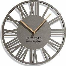 FLEXISTYLE Wall Clock, Engineered Wood, Gray, 30 cm