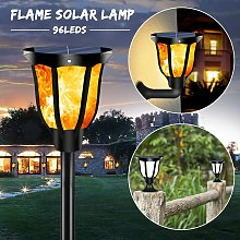 Flickering Flames Torch Lights Solar Light 96 LED Solar Powered Wireless Waterproof Outdoor Security Wall Sconce with Ground Stake Base Wall Sconce