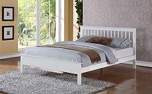 Flintshire Pentre Hardwood White Finish Bed Frame,