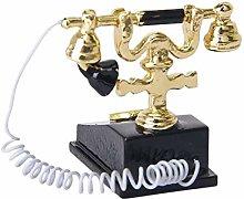 Fliyeong Dollhouse Retro Telephone Miniature Phone