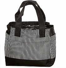 Fliyeong Stripe Insulated Cold Canvas Lunch Tote