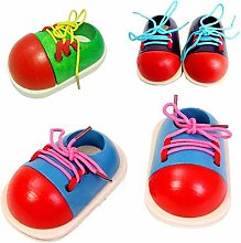 Fliyeong Wooden Toy Shoelaces Shoes Lacing Tie