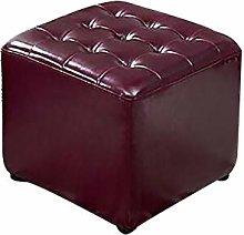 FLJKL Modern Leather Ottoman, Wine Red Footstool