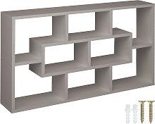 Floating shelf room divider for books and