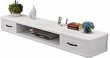 Floating TV Unit Cabinet, Solid Wood Wall TV
