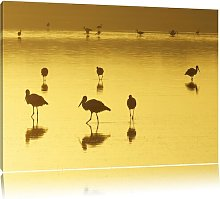 Flock of Pelicans in the Water Wall Art Print on