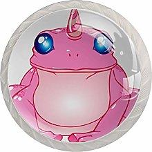 Flog Pink 4 Pieces Crystal Glass Wardrobe Handles