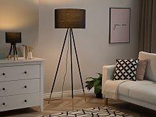 Floor Lamp Black Polycotton Drum Shade 157 cm