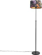Floor Lamp Black with 35cm Floral Velvet Shade -